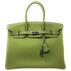 Hermes Birkin 35 Togo Green Apple with Palladium hardware