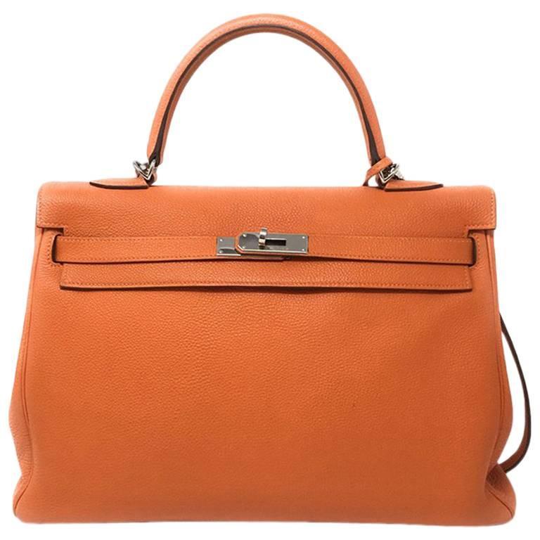 8ec38ffa00 Hermes Kelly 35cm Tangerine Orange with Palladium Hardware For Sale ...
