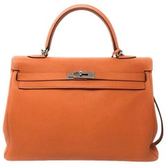 Hermes Kelly 35cm Tangerine Orange with Palladium Hardware