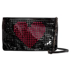 Christian Louboutin Black Loubiposh Valentine Studded Clutch/Crossbody Bag