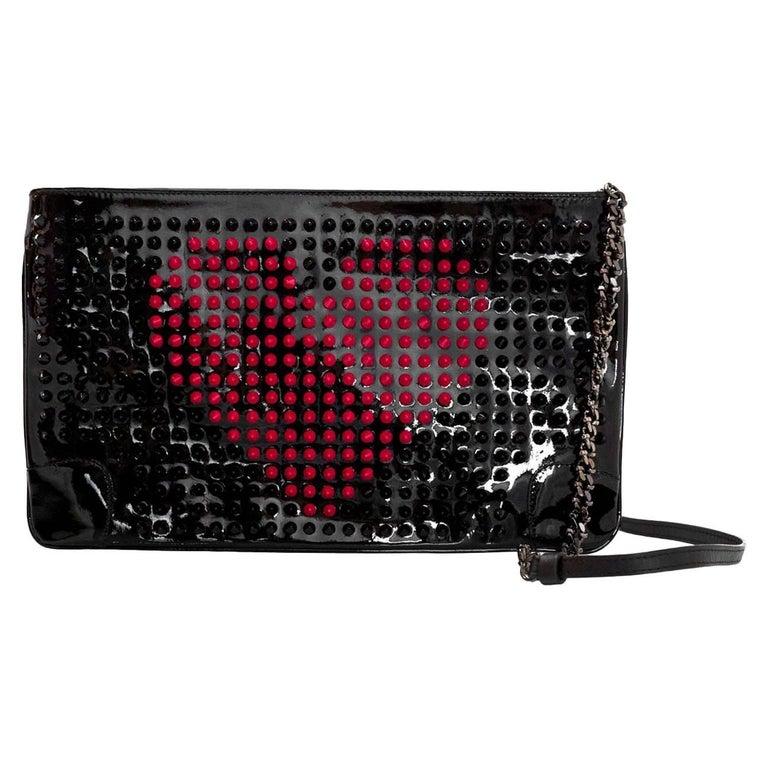4554e2ca5bf Christian Louboutin Black Loubiposh Valentine Studded Clutch/Crossbody Bag