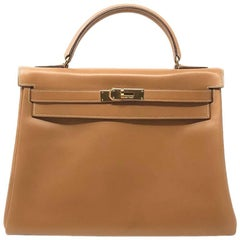 Hermes Kelly 32 Brown Vintage with Gold Hardware