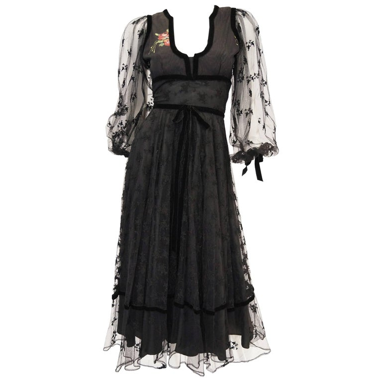1970s Thea Porter Couture Black Lace Dress w/ Hand Painted Flowers For Sale