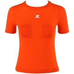 COURREGES c.1970's Orange Knit Short Sleeve Crewneck Top Signature Logo