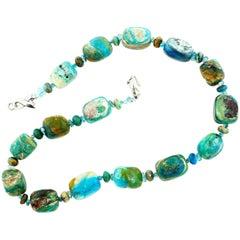 Gemjunky Unique Natural Rare Peruvian Blue Opal Rock Silvery Clasp Necklace