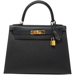 Hermes Kelly 28 Black Epsom Leather with Gold Hardware