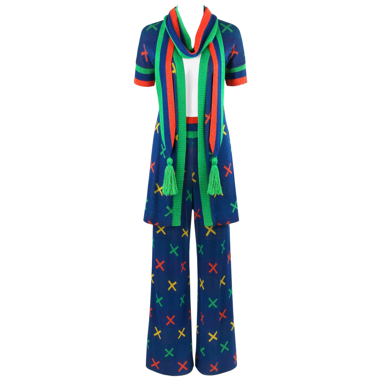 SANT'ANGELO c.1970's 3 Pc Multicolor X Pattern Knit Cardigan Scarf Pant Suit Set