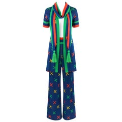 SANT'ANGELO c.1970's 3 Pc Multicolor X Pattern Knit Cardigan Scarf Pant Suit Set