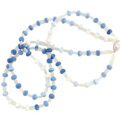 Blue Rare Peruvian Opal Necklace With Sterling Silver Clasp