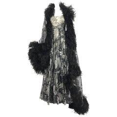 Elizabeth Arden black and cream silk chiffon gown feather trim stole 1960s