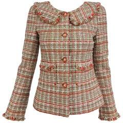 Chanel 04P tweed fringe four pocket jacket with yoke collar