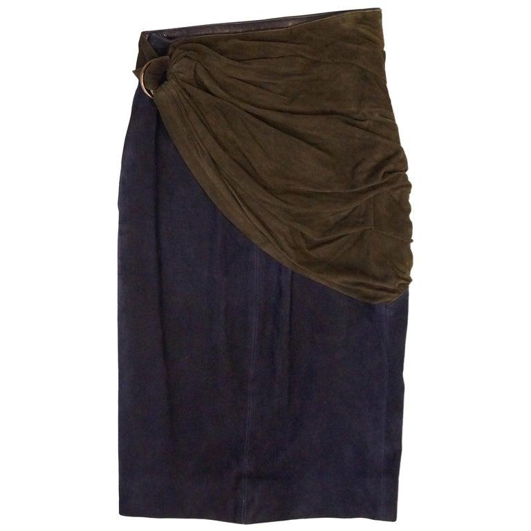 1990s Alaia Indigo and Brown Suede Sarong Wrap Skirt For Sale