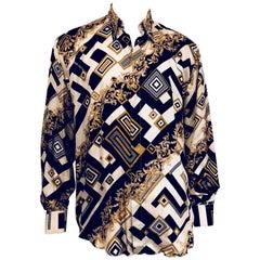 Men's Vivacious Vintage Versace Classic Silk Shirt, ca 1990's Sz XXXL