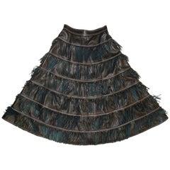 Versace Leather Fringe Midi Skirt, 1980s