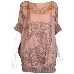 Hermes Jungle Love Silk Print Tunic Blouse
