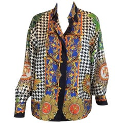 Gianni Versace Lifetime Silk Print Blouse