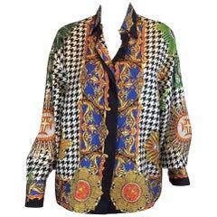 Gianni Versace Lifetime Silk Print Blouse