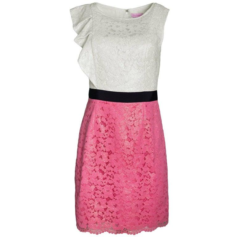 Lilly Pulitzer Cream & Pink Lace Dress Sz 6