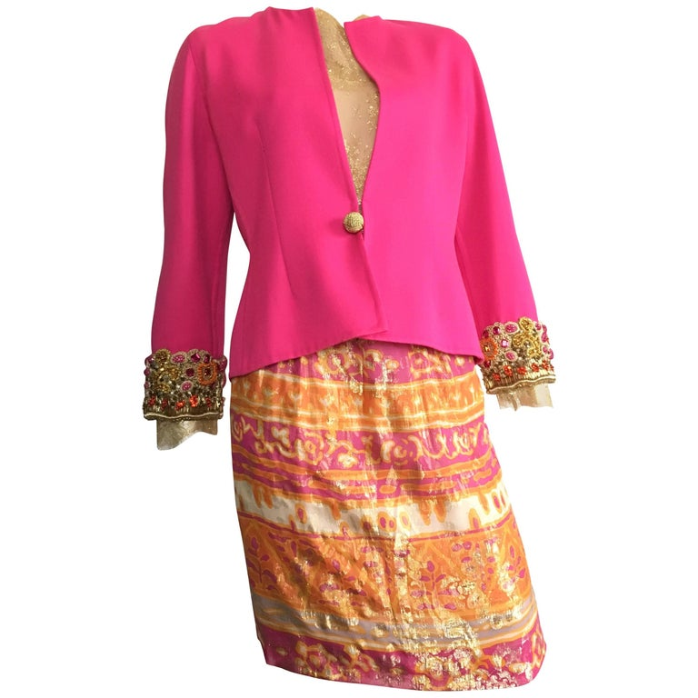 Bill Blass for Saks 1980s Beaded Jacket Lace Blouse & Skirt set Size 6.