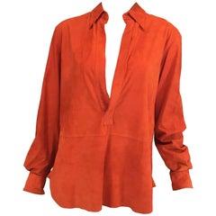 Ralph Lauren Purple Lable Orange Goat Suede Top