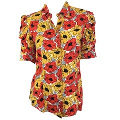 Yves Saint Laurent Print Button up Blouse