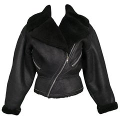 Alaia Black Suede Shearling Motorcycle Jacket