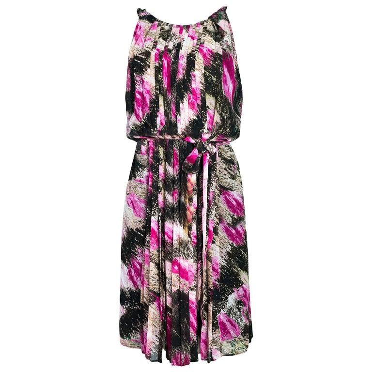 Diane von Furstenberg Pink Pleated Ria Dress Sz 6 NWT