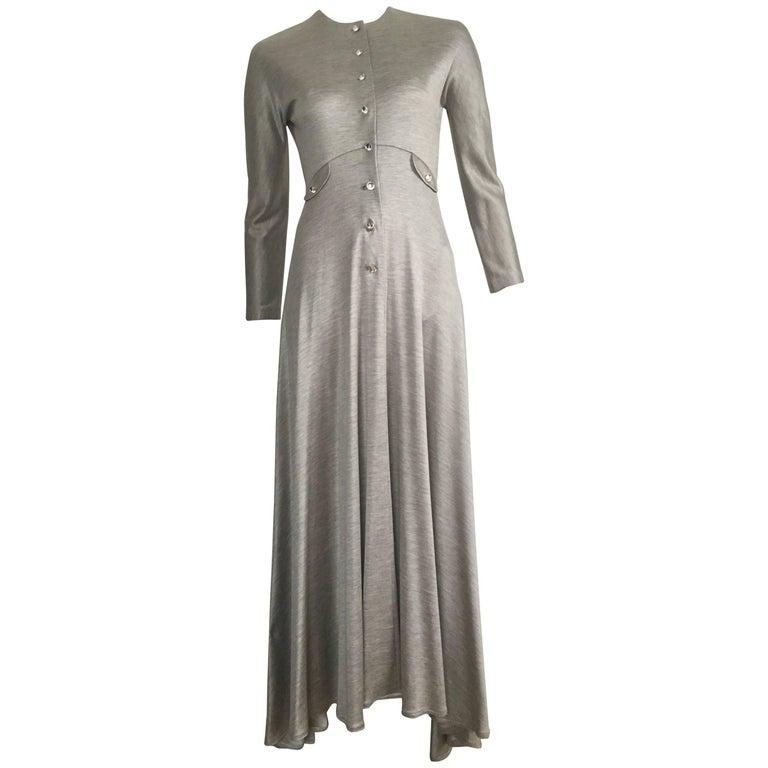 Geoffrey Beene 1990s Silver Gray Jersey Maxi Dress Size 4.