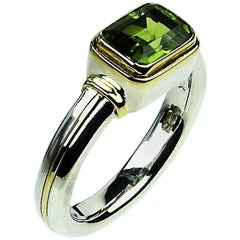 Peridot and Sterling Silver Ring with 18k Gold Accents