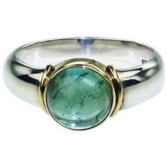 Blue-Green Tourmaline and Sterling Silver Ring with 18k Gold Accents