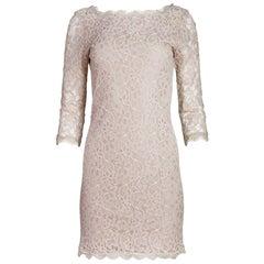 Diane von Furstenberg Nude Lace Dress Sz 6