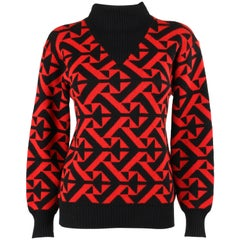 COURREGES c.1980's Red & Black Geometric Op Art Wool Knit Mock Neck Sweater
