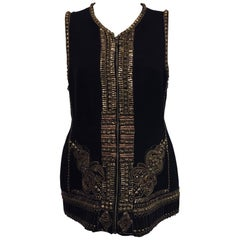 Dynamic Dries van Noten Black Wool and Cotton Metal Embellished Vest Jacket