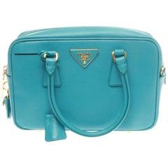 Prada Turchese Saffiano Lux Bauletto Bag