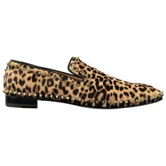 Christian Louboutin Men's Leopard Print Pony Hair Gold Spike Loafers