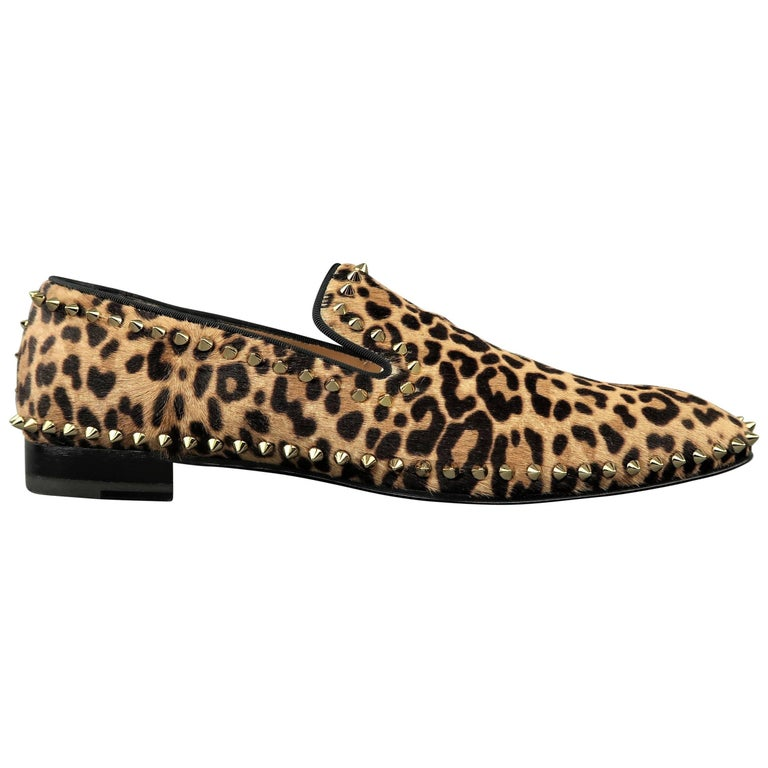 best service 8a27b fd0aa Christian Louboutin Men's Leopard Print Pony Hair Gold Spike Loafers