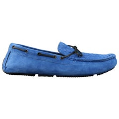 Men's BOTTEGA VENETA Size 14 Royal Blue Woven Intrecciato Suede Driver Loafers