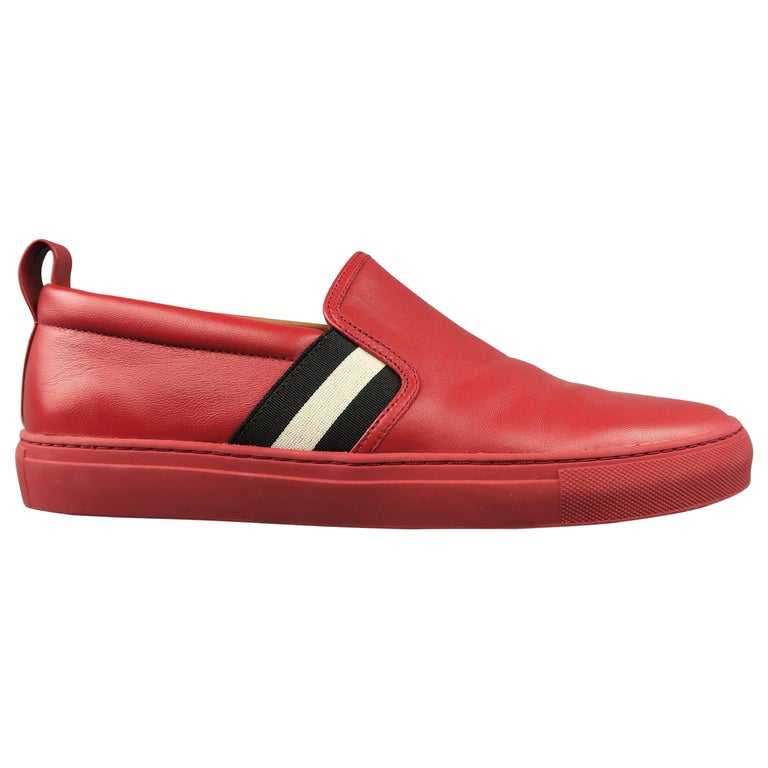 Men's BALLY Size 11.5 Red Leather Black & White Stripe HERALD Slip On Sneakers
