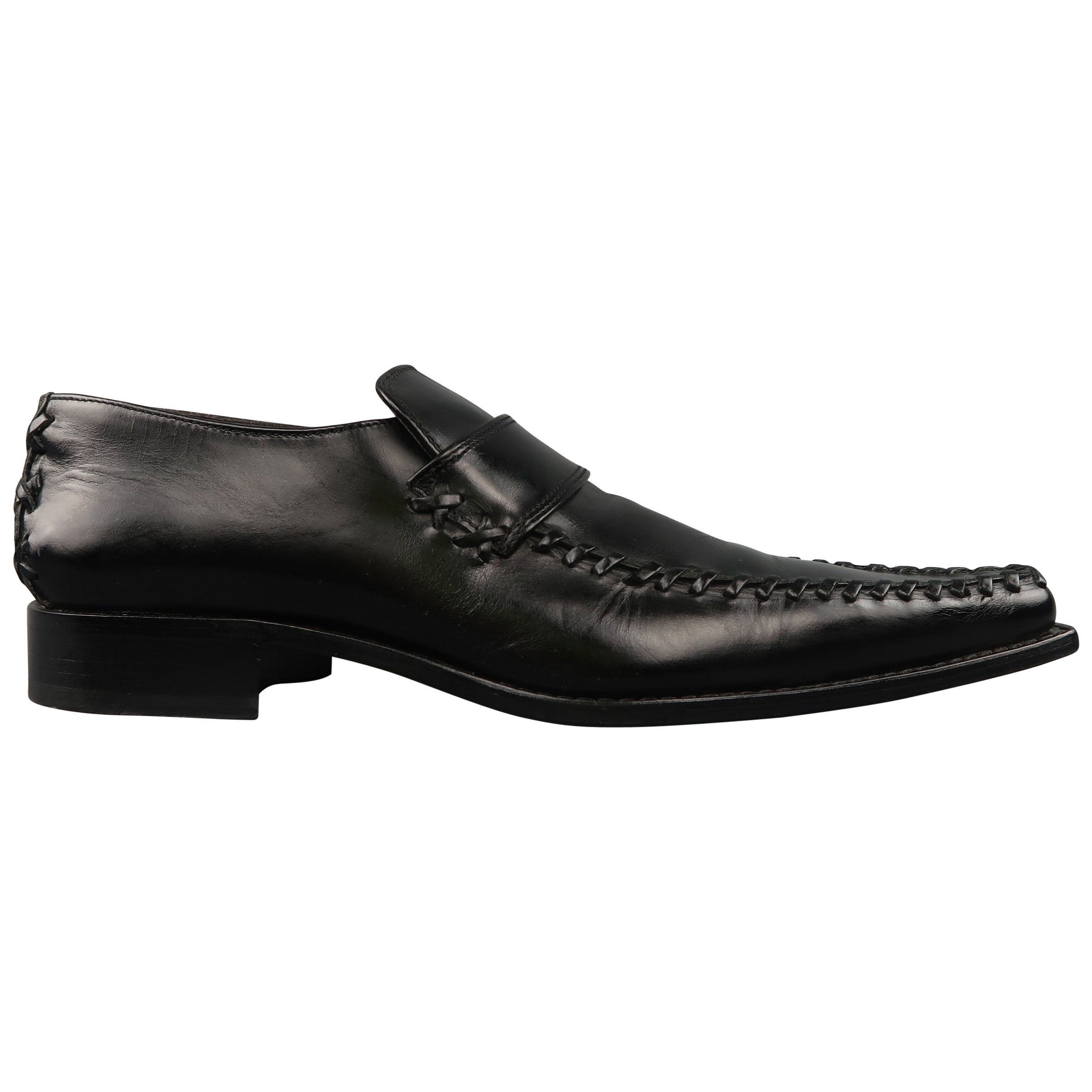 84a74f676e085 Men's DSQUARED2 Size 12 Black Leather Pointed Whip Stitch Loafers