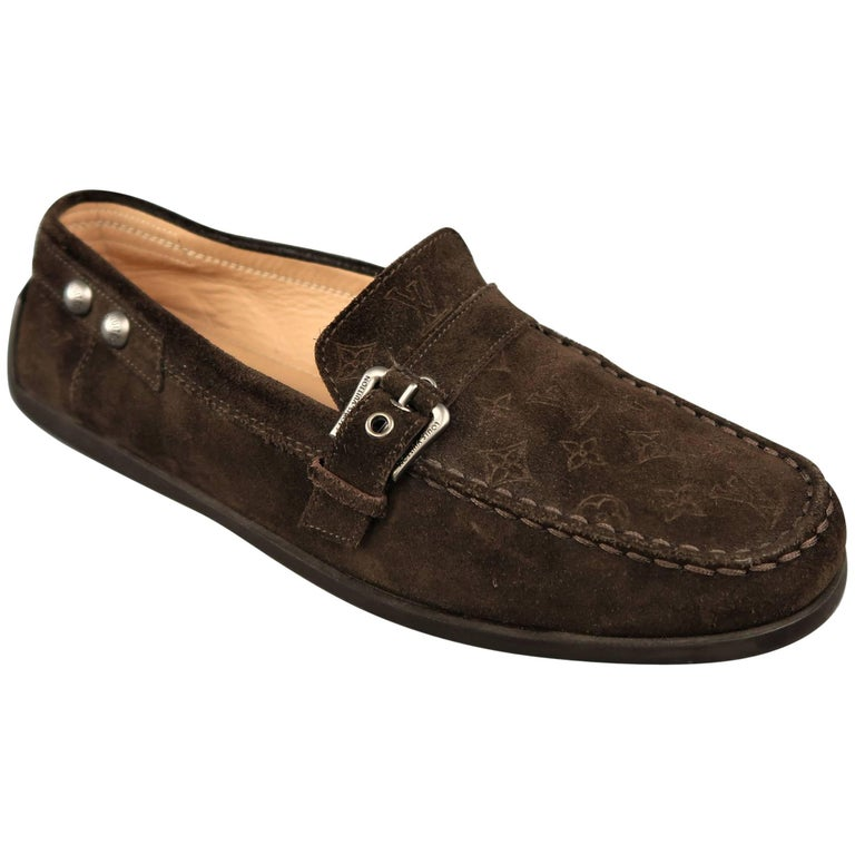b5c390248e3 Louis Vuitton Women s Brown Monogram Suede Buckle Strap Slip On Loafers For  Sale