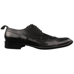 Men's DSQUARED2 Size 11 Black Lizard Textured Leather Lace Up Wingtip Shoes