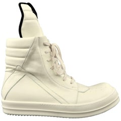 Men's RICK OWENS Size 12 Cream Leather 'Geobasket High' High Top Sneakers