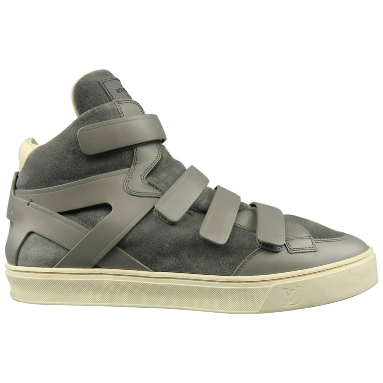 6907bcebaeb7 Men s LOUIS VUITTON Sneaker Size 11 Gray Leather   Suede Velcro High Top  Boxing ...