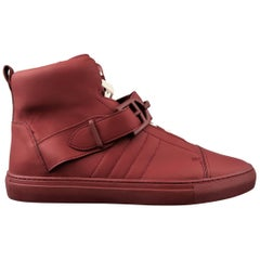 Men's BALLY Size 11.5 Burgundy Leather Horsebit Strap Heilwing High Top Sneakers