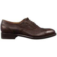 Men's SUTOR MANTELLASSI Size 8.5 Brown Leather Lace Up Cap Toe Brogues