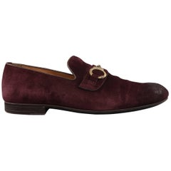 Men's JIMMY CHOO Size 12 Eggplant Antique Suede Gold Handcuffs Loafers