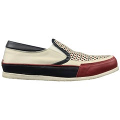 Men's DSQUARED2 Size 12 Red White & Blue Woven Leather Slip On Sneakers