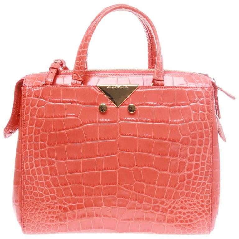 Emporio Armani Coral Orange Crocodile Look Shopper