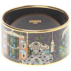 HERMES Cachemire de Tamara Extra Wide Printed Enamel Bracelet