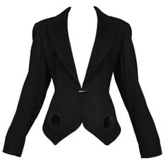 Alaia Black Fitted Blazer Jacket with Velvet Applique and Metal Button NWOT 1991